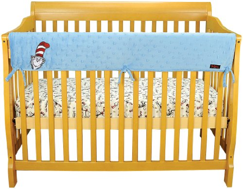 "Dr. Seuss Cat in the Hat by Trend Lab Velour CribWrap Rail Cover for Long Rail, Blue, Wide for Crib Rails Measuring up to 18"" Around!"