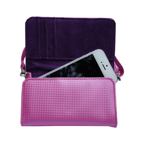 Women Designer Pink Stylish Handbag Carrying Case Purse sized for Samsung devices with Shoulder Han