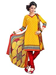 Anjali Presents Sparkling Yellow & Red Coloured Printed Dress Material