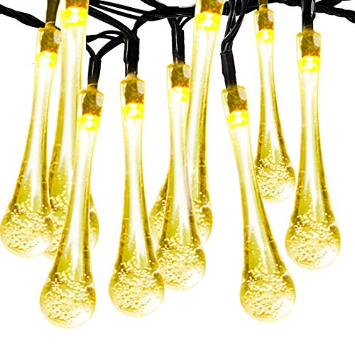 Solar Outdoor String Lights, Satu Brown 36ft 60 LED Fairy Water Drop Lights Decorative Lighting for Home, Garden, Patio, Yard, Christmas Tree, Parties (Warm White) (Motion Sensor Closet Light Wired compare prices)