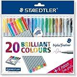 "Triplus Fineliner ""26-Piece Bonus Pack"" Pens by Staedtler, 0.3mm, Metal Clad Tip, 26/PK (20 + 6 Neon Colors), Assorted"