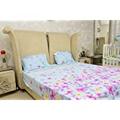 Sassoon Coordinated Collection Floral Cotton Double Bedsheet With Pillow Cover - Multicolor
