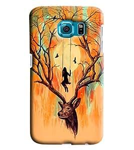 Blue Throat Deer Printed Designer Back Cover/Case For Samsung Galaxy S6