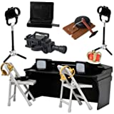 Black Breakaway Commentator Table 13 Piece Special Deal for Wrestling Action Figures