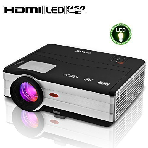 "EUG 7"" TFT LCD 3000 Lumens 1024x768 Cinema Projector 1080p Full Hd 3d Ready LED Multimedia Home Theater System with Hdmi *2, Usb*2, Vga, Av, Tv Latest"