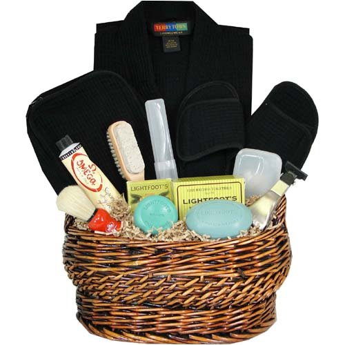 Luxury Spa Travel Gift Basket with Bath Necessities for Men