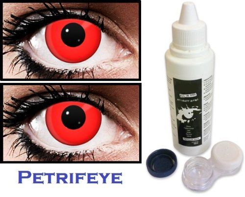 2 Red Contact Lenses For Halloween With Cleaning Solution And Case (Lasts 90 Days)