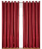 "Home Candy Plain 2 Piece Polyester Window Curtain Set - 60""x48"", Maroon"