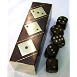 DICE SET. SHISHAM WOOD.BRASS INLAID DICE AND BOXby Elysium Enterprises
