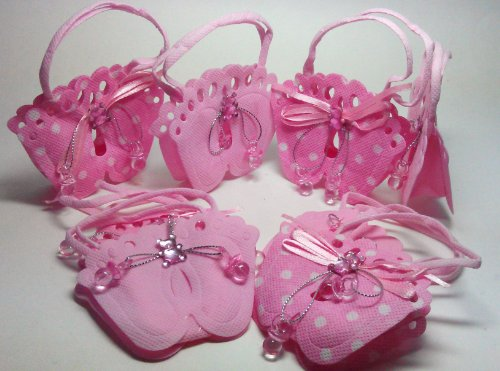"48 Pcs Mixed Pink Footprint Woven Pouches With Pacifier Design ""It'S A Girl"" Baby Shower Favor front-47454"