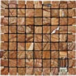 Cafe Rain Forest Brown Tumbled Marble in 1x1 Mosaic Tiles.