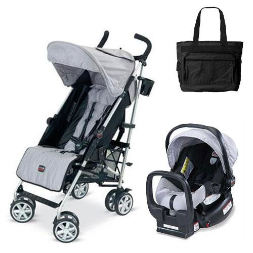 Britax U351780kit2 B-nimble Stroller - Black silver with Diaper Bag and Chaperone Car Seat