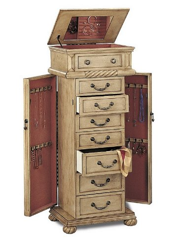 All Wood Jewelry Armoire ~ White wash furniture
