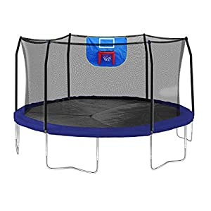 Skywalker Trampolines Jump N' Dunk Trampoline with Safety Enclosure and Basketball Hoop, Blue, 15-Feet