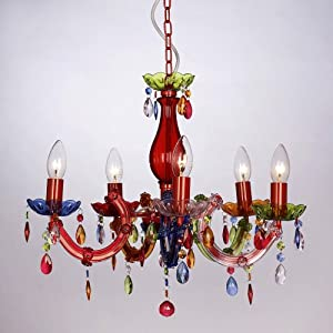 Modern Gypsy Multi-Coloured 5 Way Marie Therese Ceiling Light Chandelier
