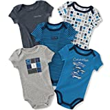 Calvin Klein Baby Boys' Assorted Short Sleeve Bodysuit, Navy/Gray, 3-6 Months (Pack of 5)