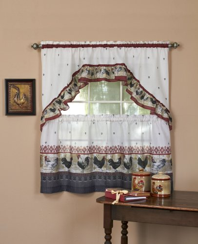 Achim Home Furnishings Rooster Tier and Swag Set, 57-Inch by 36-Inch, Burgundy (Kitchen Curtains With Roosters compare prices)