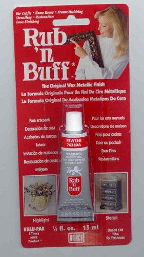 AMACO Rub 'n Buff Wax Metallic Finish, Pewter, 0.5-Fluid Ounce - 1