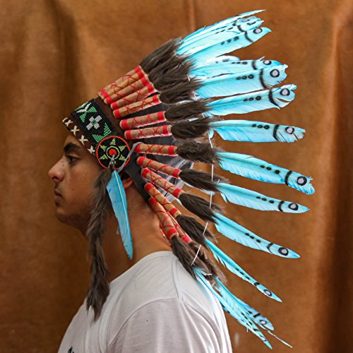 Indian Headdress With Real 65Cm Feathers - Light Blue