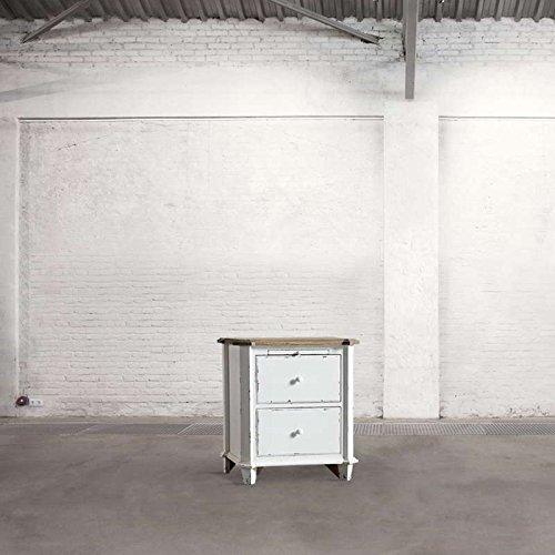 Dialma Brown - Comodino Con 2 Cassetti E Un Tiretto Realizzato In Legno Di Rovere E Base Color Bianco Anticato