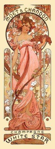 Moet & Chandon White Star Champagne Alphonse Mucha Art Nouveau Poster Print NEW