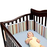 BreathableBaby Breathable Deluxe Mesh Crib Liner, Sage/Blue Stripe