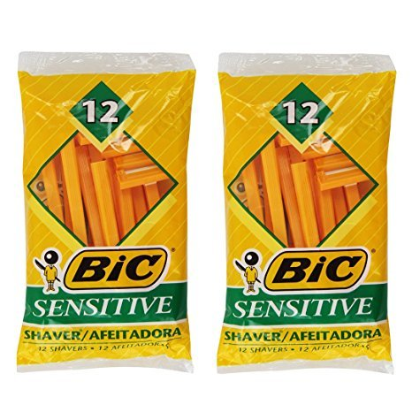 (Pack of 2) Bic Single Blade Sensitive Skin Shavers - 12 in Pack [Total 24] (Single Shaver Blades compare prices)