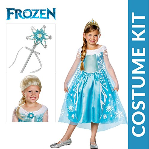 Girl's Frozen Elsa Deluxe Premium Costume Kit with Wig and Wand - medium