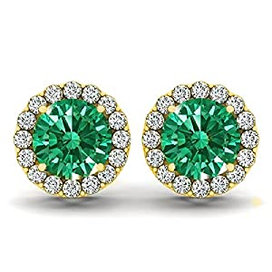 14kt White Gold Emerald and Diamond Halo Earrings 1.55ct TW