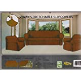 STRETCH FORM FIT - 3 Pc. Slipcovers Set, Couch/Sofa + Loveseat + Chair Covers - BROWN