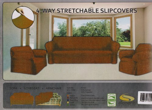 STRETCH FORM FIT - 3 Pc. Slipcovers Set, Couch/Sofa + Loveseat + Chair Covers - BROWN (Cheap Couch Covers compare prices)