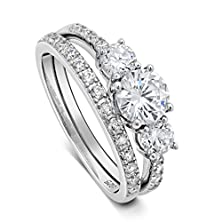 """buy Sterling Silver """"Past, Present, Future"""" Three Stone Cz Double Band Engagement Wedding Set (5)"""