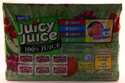 Nestle Juicy Juice All Natural 100% Juice (32 Boxes - 4.23 Oz Each Box) 8 Punch 8 Berry 8 Grape 8 Apple front-952308