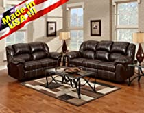 Big Sale Roundhill Furniture Brandan Bonded Leather Dual Reclining Sofa and Loveseat, Brown