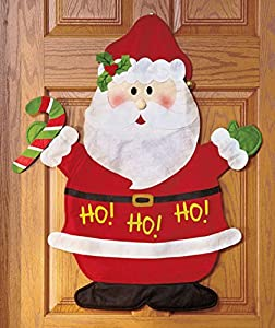 Santa Claus Ho Ho Ho Candy Cane Whimsical Greeter Christmas Wall Holiday Door Hanging Decoration