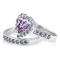 BERRICLE Sterling Silver Purple Cubic Zirconia CZ Halo Heart Womens Engagement Wedding Ring Set by BERRICLE