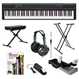Yamaha P Series P105B 88 Keys Digital Piano Black with Classic Double-X Keyboard Stand Keyboard Bench Sustain Pedal Full-Size Headphones Keyboard Dust Cover and Alfreds Learn To Play Piano - DVD + Book