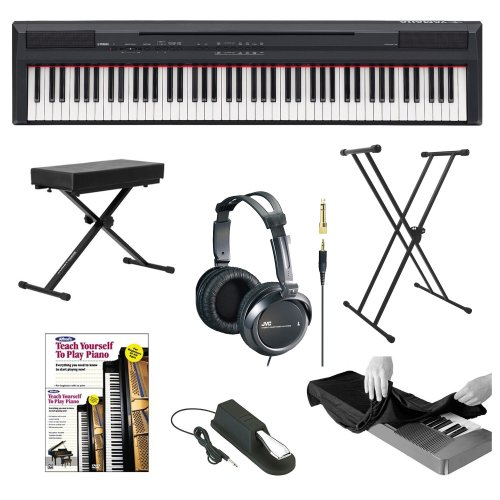 Yamaha P Series P105B 88 Keys Digital Piano, Black With Classic Double-X Keyboard Stand, Keyboard Bench, Sustain Pedal, Full-Size Headphones, Keyboard Dust Cover And Alfreds Learn To Play Piano - Dvd + Book