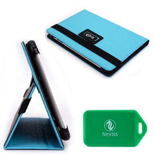 """Universal Baby Blue Tablet Cover Case For Asus - Memo Pad Smart 10.1"""" Plus Bonus Neviss Luggage Tag"""