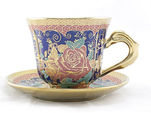 Ambilight Porcelain 6-Ounce Coffee Cup And Saucer Blue Chintz With Gold Trim,Set Of 2,Blue,E2