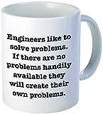 11OZ Funny Mug - Engineers like to solve problems - 11 OZ Coffee Mugs - Inspirational gifts and sarcasm - By A Mug To Keep TM