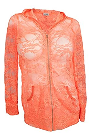 eVogues Plus Size Lace Zipper Front Hoodie Top Coral - 1X