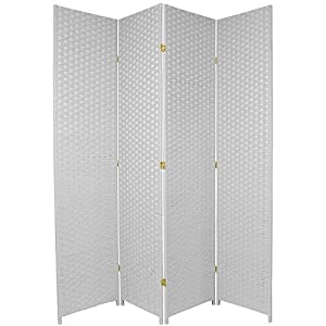 Oriental Furniture Rattan Style Room Divider Barrier, 7-Feet Tall Woven Plant Fiber Design Privacy Floor Folding Screen, White, 4 Panel