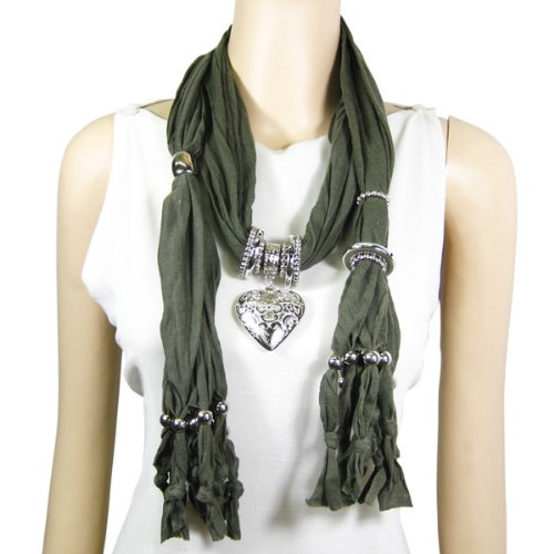Metal Heart Pendant Jewelry Scarf Long Necklace Olive Green