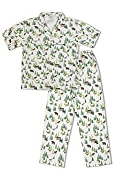 GreenApple Girls Organic Cotton Forest Print Pyjama Set (FVGA015, Green, 3-4 Years)