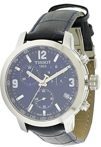 Tissot Blue Dial SS Leather Chronograph Quartz Men's Watch T0554171604700 (Tissot Blue Dial Mens Watch compare prices)