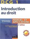 echange, troc Jean-François Bocquillon, Martine Mariage - Introduction au droit DCG1 : Manuel et applications Avec QCM et questions de cours corrigés