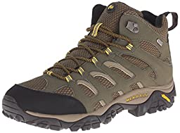 Merrell Men\'s Moab Mid Waterproof Hiking Boot, Olive, 10.5 M US