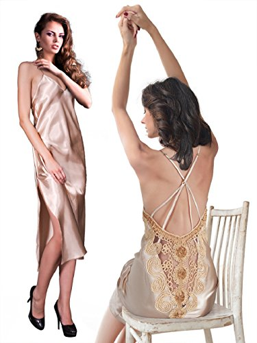 Miorre Papaya Satin Long Gown & G-String Set, Large