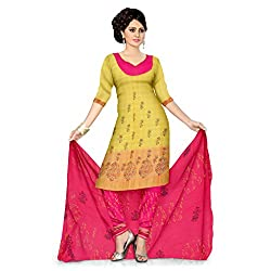 Light Pink and Yellow Cotton Dress Material